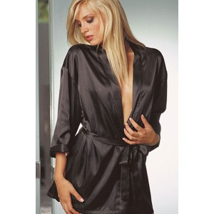 Sensual sexy black satin robe